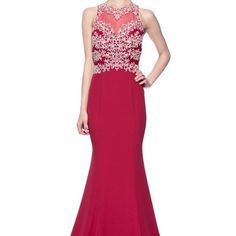 Burgundy beaded prom evening dress #tr26082