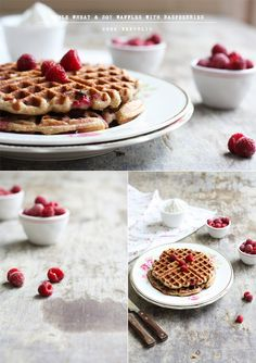 Whole Wheat And Soy Waffles With Raspberries   Cook Republic