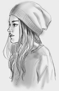 (Copied from artist dibujos para dibujar a lapiz) girl character grey scale Train Illustration, Illustration Artists, Art Drawings Sketches, Pencil Drawings, Hair Drawings, Sketch Drawing, Girls Heart, Videos Kawaii, Disney Stich
