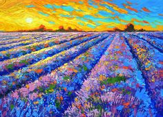 Field Lavender Oil Painting, Stretched Ready to Hang Abstract Painting, Multicolor Palette Knife Textured Vibrant Blooming Flowers - Lavender field sunset oil paintings by Dmitry Spiros by spirosart - Landscape Art, Landscape Paintings, Contemporary Landscape, Landscapes, Arte Inspo, Rose Art, Abstract Canvas, Original Paintings, Oil Paintings
