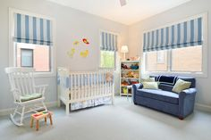 Splashy nursery rocking chair in Nursery Transitional with Colorful Blinds next to Gray Baby Boys Nursery alongside Striped Roman Shade and Boy Nursery