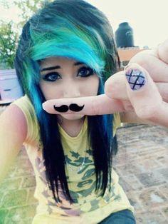 emo girl black, blue, and green hair blue eyes