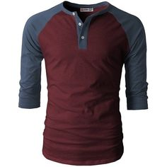 H2H Mens Casual Slim Fit Raglan Baseball Three-Quarter Sleeve Henley... ($11) ❤ liked on Polyvore featuring men's fashion, men's clothing, men's shirts, men's t-shirts, guys, men, shirts, tops, mens 3 4 sleeve baseball shirts and mens henley shirts