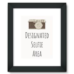 """Designated Selfie Area"" Vintage Camera #2 Framed Fine Art Print"