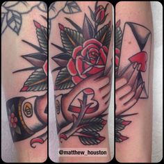 Little bit of love. Thanks Patryk from Poland. Made today @sevendoorstattoo #loveletter #hand #hearts #rose #traditional #tattoo
