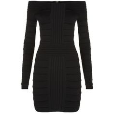 Balmain Off The Shoulder Bodycon Dress (€2.320) ❤ liked on Polyvore featuring dresses, body con dress, panel dress, body conscious dress, figure hugging dress and off the shoulder bodycon dress