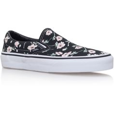 Slip On Floral Vans Black/Other (€75) ❤ liked on Polyvore featuring shoes, sneakers, black shoes, vans sneakers, vans shoes, slip on sneakers and flat shoes