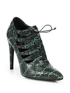 Bottega Veneta Snakeskin Cutout Lace-Up Ankle Boots