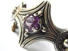 OLD Sterling Silver & Alexandrite  Taxco Bell MCP Signed  Bracelet  Heavy