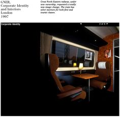 The 'sober' interior of the 1st & working class coaches on GNER trains -- Took into consideration before new image designed by Vignelli Associates.