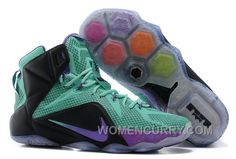 2ea012b56a7 Nike LeBron 12 Teal Court Purple-Black Mens Basketball Shoes Authentic  BGiCMf
