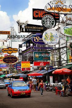 This is Khao San Road, Bangkok.