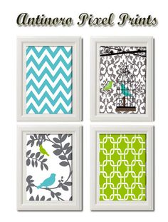 Chartreuse Green Turquoise Grey Bird Prints in Damask Chevron  - Set of Four 8x11. $45.00, via Etsy.