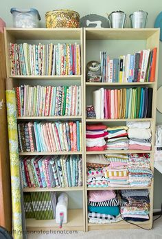 craftiness is not optional: updated craft room Sewing Spaces, My Sewing Room, Sewing Rooms, Craft Room Storage, Fabric Storage, Craft Rooms, Space Crafts, Home Crafts, Art Studio Organization