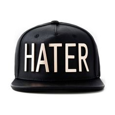 Hater Cap (67 AUD) ❤ liked on Polyvore featuring accessories, hats, snapbacks, black, caps, faux leather hat, black snapback cap, snap back hats, black snapback hats and cap snapback