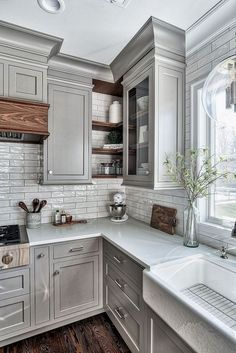 Home Remodel On A Budget Grey Kitchen Design - Home Bunch Interior Design Ideas.Home Remodel On A Budget Grey Kitchen Design - Home Bunch Interior Design Ideas Farmhouse Kitchen Cabinets, Kitchen Cabinet Design, Kitchen Redo, Kitchen Dining, Kitchen Rustic, Kitchen Corner, Rustic Farmhouse, Grey Painted Kitchen Cabinets, Grey Cupboards