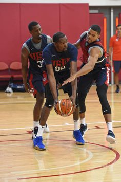 afff4443a9a Tobias Harris guards Kevin Durant during USAB Minicamp Practice at  Mendenhall Center on the University of