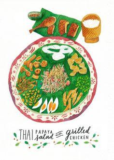 # Salade de papaye thaï au poulet grillé