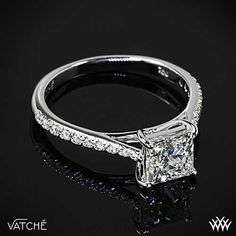 """From the Spanish word meaning """"Happiness"""" the """"Alegria Pave"""" Diamond Engagement Ring by Vatche is the perfect home for your Princess Cut Diamond. Verragio Engagement Rings, Diamond Cluster Engagement Ring, Gold Diamond Wedding Band, Princess Cut Engagement Rings, Morganite Engagement, Engagement Ring Settings, Solitaire Rings, Diamond Rings, Verragio Rings"""