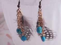Turquoise brass Quail feather dangle earrings by riegledesign, $25.00