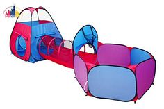 Heavy Duty Play Tent Play Tunnel Ball Pit Combo Designed to Connect (3-in-1 Blue-Red-Purple)