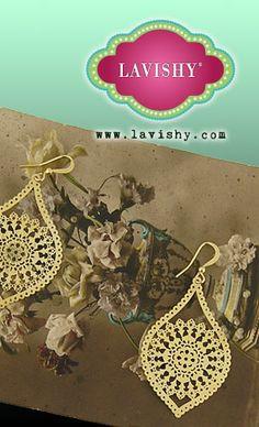 LAVISHY golden lace filigree earrings. @Lavishy Boutique, #lavishy, #jewelry, #earrings, #gift, #wedding, #lace