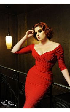 Laura Byrnes- Monica Dress in Red Matte Jersey Knit | Pinup Girl Clothing