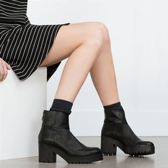 82e3b3db501 High Heel Leather Ankle Boot by Zara