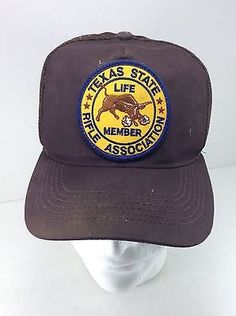 fc43dc90921 Vintage Texas State Rifle Association Life Member Hat SnapBack Trucker Hat  Brown