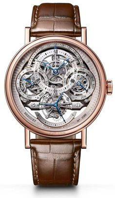 Breguet 3795BR/1E/9WU.Case in 18-carat rose gold with a finely fluted caseband. Sapphire caseback. 41 mm diameter. Welded lugs with screw bars. Water-resistant to 3 bar (30m). Skeleton dial in silvered 18-carat gold. Individually numbered and signed BREGUET. Hours chapter with Roman numerals on a sapphire disc. Breguet open-tipped hands in blued steel. Retrograde dates indication at 12 o'clock, days at 9 o'clock, and months and leap years at 3 o'clock. Small seconds on the tourbillon a
