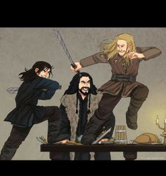 Kili, Fili, and Uncle Thorin doesn't look too happy...