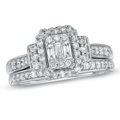 5/8 CT. T.W. Composite Emerald-Cut Diamond Bridal Set in 10K White Gold