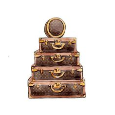 Watercolor Illustration, Louis Vuitton Vintage Trunk, Brown Monogram Art Print