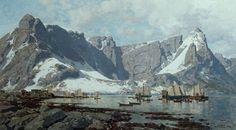 Otto Ludvig Sinding (1842-1909): Snowy landscape from Reine Lofoten