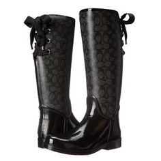"Coach waterproof ""tristee"" rainboots Worn once, perfect condition!!! Scuffs on rubber are barely noticeable. Fuzzy and warm on inside and cute lace up bow on back! Size 5B but can fit up to a 6.....NO TRADES. Coach Shoes Winter & Rain Boots"