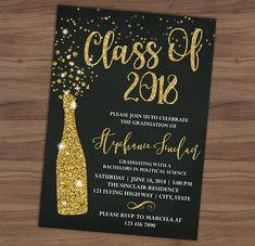 Graduation Party Invitation Graduation Announcement Green Graduation Invitation Cards, Gold Invitations, Graduation Announcements, Digital Invitations, Grad Invites, Graduation Open Houses, College Graduation, Class Reunion Decorations, Grad Parties