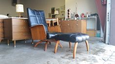 Vintage 1960's Plycraft Style Rocking Lounge Chair With Ottoman Mulhauser Mid Century Modern Teak Spider Base Modern Molded Plywood Arms by Mod8FurnitureMarket on Etsy https://www.etsy.com/listing/265935021/vintage-1960s-plycraft-style-rocking