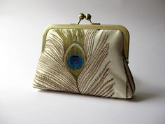 Silk embroidered peacock feather clutch purse with by BagNoir, $64.00