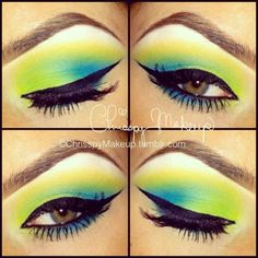 Makeup by Chrisspy - Blue, green and yellow.