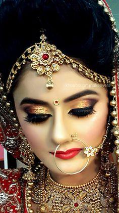 18 Ideas for wedding makeup asian brides colour Bengali Bridal Makeup, Indian Wedding Makeup, Indian Wedding Bride, Best Bridal Makeup, Indian Bridal Fashion, Bridal Makeup Looks, Bride Makeup, Pakistani Bridal, Bridal Beauty