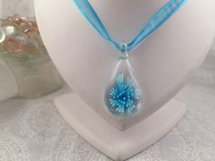 Sky Blue blown glass pendant necklace on a matching blue ribbon by LISASBEADINGBOUTIQUE on Etsy