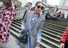 Sarah Brody in Balenciaga sunglasses with a Christopher Kane bag