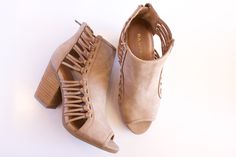 """Vegan leather bootie with laced up sides & open toe. 3"""" heel"""