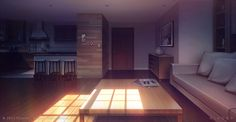 Living room_Dusk - Visual Novel Background by giaonp on DeviantArt Episode Interactive Backgrounds, Episode Backgrounds, Anime Backgrounds Wallpapers, Anime Scenery Wallpaper, Pastel Wallpaper, Scenery Background, Living Room Background, Animation Background, Video Background
