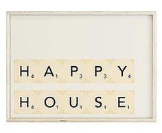 Quadro Led decor in legno Happy House - 30x40x10 cm