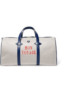 37092b781bac85 Paravel - Main Line Duffel Leather-trimmed Printed Canvas Weekend Bag - Navy