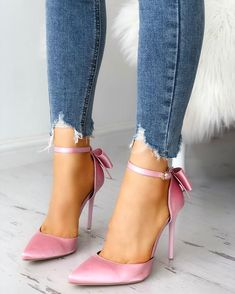 Satin Bowknot Ankle Strap Peep Toe Heels We Miss Moda is a leading Women's Clothing Store. Nude High Heels, Shoes Heels Pumps, Pink Heels, Stiletto Pumps, Ankle Strap Heels, Ankle Straps, Heeled Sandals, Sexy Heels, Women's Shoes