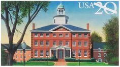St John's college celebrates 300 years of education in this 1996 Historical Preservation series postal card. The college traces its roots back to 1696. A charter in 1784 made it the first University of Maryland, five years later the first students were accepted.
