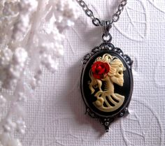 Red Rose Lolita Cameo Necklace  Skull Cameo by FashionCrashJewelry