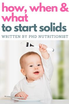 Starting solids - the ultimate weaning guide. A nutritionist answers all the questions - how do you know when your baby is ready, how and with what to begin. Do you start with baby-led weaning or purees? Starting Solids Baby, Solids For Baby, Feeding Baby Solids, Baby Feeding, Weaning Guide, Baby Care Tips, Baby Tips, Healthy Baby Food, Baby Schedule